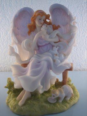 Porzellan-Engel mit Katzen H16cm