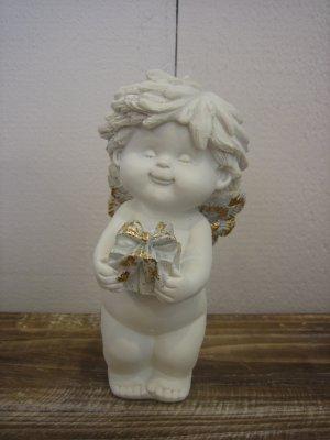 IGOR Weihnachtsengel mit Geschenk weiss/gold/silber H17cm