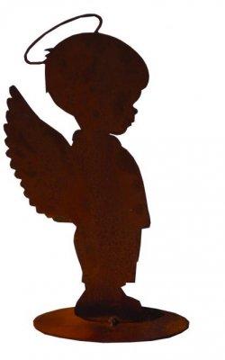 Rost-Engel Leo auf Platte  H20cm B15cm T5cm
