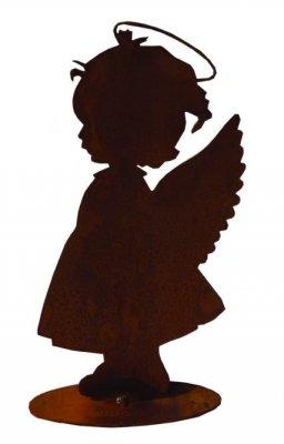 Rost-Engel Lotta auf Platte  H20cm B15cm T5cm
