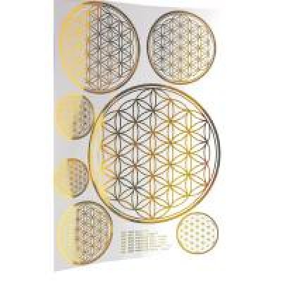 Aufkleber Blume des Lebens gold A4